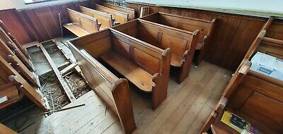 Antique 1830s 5 foot Welsh Chapel Pews Block of 3 - Solid Pitch Pine
