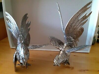 Superb Pair Silver Plated Fighting Cockerels Large Size