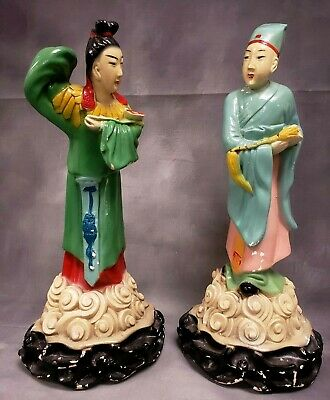 """Pair Vintage Asian Bisque Chalkware Figurines 15.5"""" Man and 14.5"""" Woman Chinese"""