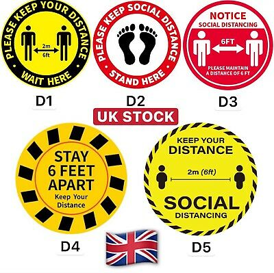 5PCS Social Distancing Floor Sticker Decals Signage 10 inches - 255 mm Non-Slip