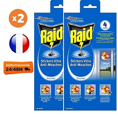 RAID Stickers Anti-Mouches - Lot de 8 Stickers Verts (Lot de 2 x 4 stickers)