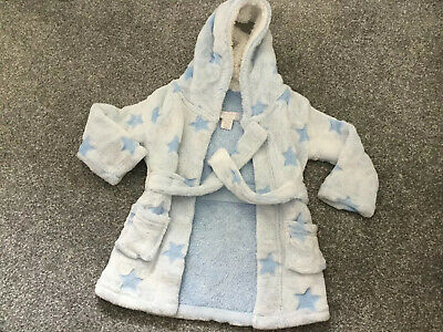 Boys 9-12 Months Hooded Dressing Gown Robe Stars ⭐️⭐️