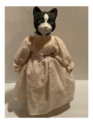 """Vintage Cat Doll With Stand """"Crazy Cat Lady Approved"""""""