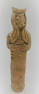 Ancient Syro-Hittite Terracotta Fertility Figurine Worshipper 1180-700Bce