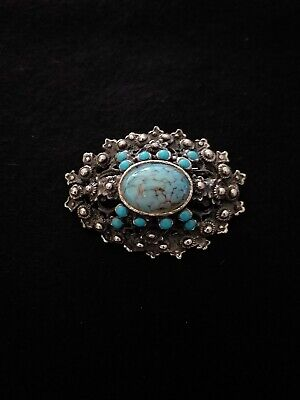 Vintage dress brooch set with stunning marbled turquoise agate cabochon