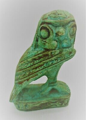 Beautiful Vintage Egyptian Glazed Stone Statuette Of Horus As An Owl