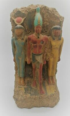 Superb Ancient Egyptian Stone Statuette Triad Circa 800 - 500 Bce