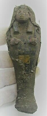 Ancient Egyptian Faience Ushabti Shabti Covered In Coptic Cloth