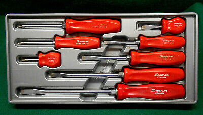 Snap-On 8 pc Combination Red Screwdriver Set Like New
