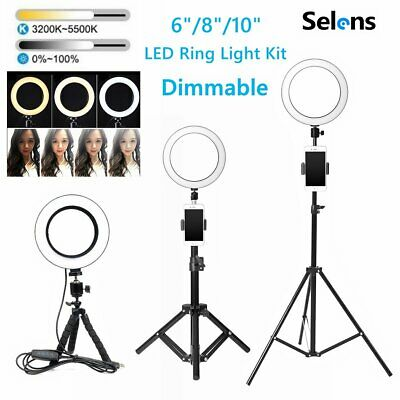 Dimmable LED Ring Light Phone Camera Photo Studio Video Tripod Stand Lamp Selfie