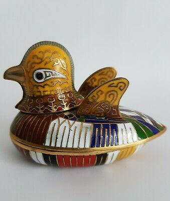 Chinesische Dose Pillendose Cloisonne Emaille Ente Huhn Messing