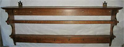 Arts & Crafts mission American period tiger oak Cup plate wall rack holder