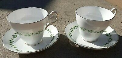 Regency Clover English Bone China 2 × Cup & Saucer Made In England Vintage
