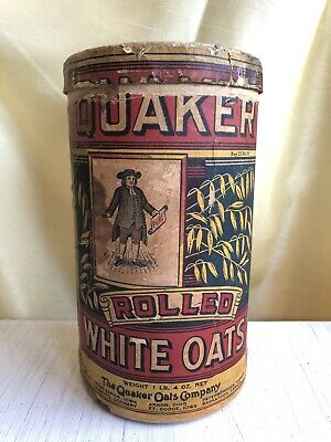 Antique Vintage Quaker Rolled White Oats Cardboard Container 1 Lb. Recipes