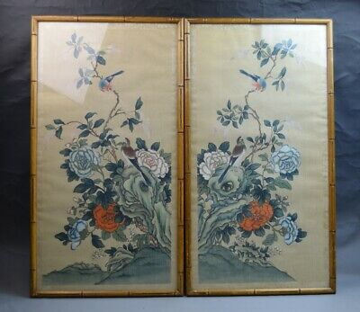 A Pair of Chinese Framed Paintings on Silk with Birds
