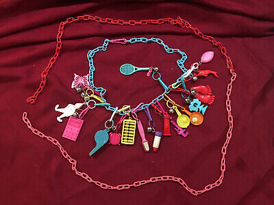 1980's VINTAGE BELL CLIP CHARM NECKLACE WITH OVER 20 PLASTIC 80'S CHARMS!
