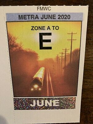 Metra Chicago Commuter Train Pass - Month of June 2020. Zone A to Zone E