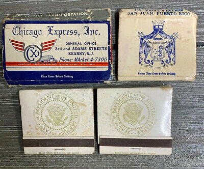 Lot of 4: Air Force-One Unused Matchbooks (Chicago Express Inc & San Juan Naval)