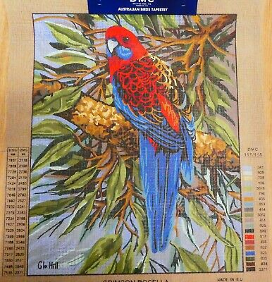 CRIMSON ROSELLA by Glo Hill - Tapestry Canvas (New) by DMC