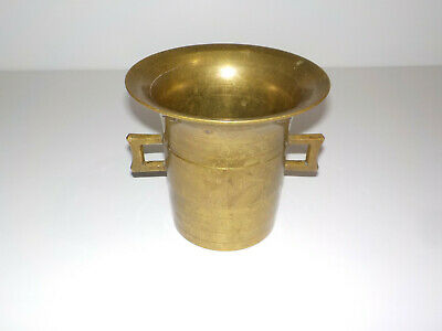 """Vintage Solid Brass Mortar 3.4 LBS Apothecary Pharmacy 5 1/4"""" TALL"""
