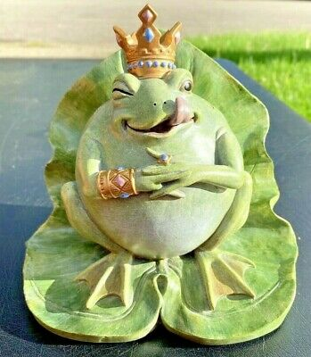 Bull Frog Statue Book End King Crown Lilypad Throne CBK Styles 2004