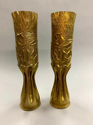 Pair of Vintage Trench Art Vases Made From Shells (9323)