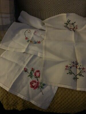 Vintage Job Lot Of  linen Tray Cloths embroidered with Stylised flowers