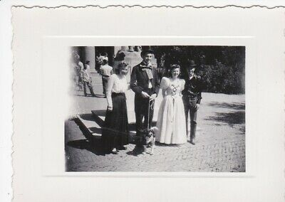 Vintage Photograph Snapshot Two Couples Dress Up Hats,And Dog Too!
