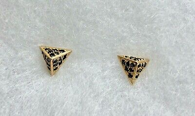 Unique Triangle Pyramid 14K Solid Y/ Gold w/Black Spinel Stones Earrings