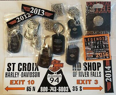 Harley Davidson Museum Collection of Keychains Pins Etc
