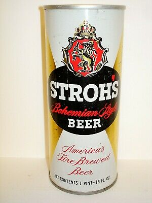 """STROH'S """"BLOCK LETTERS"""" S/S16oz Beer Can V431"""