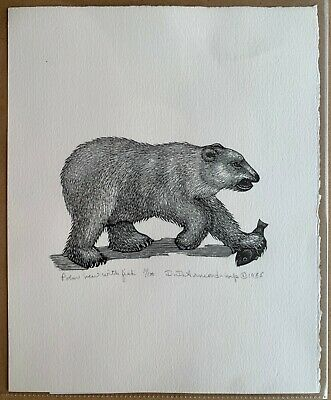 Polar Bear with Fish - Wood Engraving Print by Dale DeArmond 11/100 1985