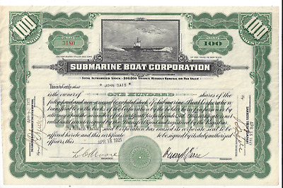 Stk Submarine Boat Corporation 1921 100 share Green Built cargo vessels NOT subs
