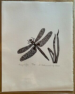 Dragon Fly - Wood Engraving Print by Dale DeArmond Dragonfly 10/100 1984
