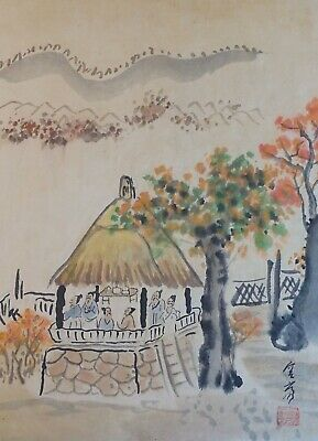 Small Chinese Hand Painting Men Mingling Under Straw Pagoga Signed