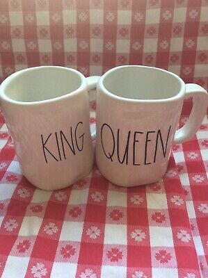 New Rae Dunn  By Magenta Mug Set Ivory White KING And QUEEN Mugs Set