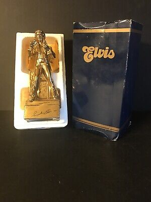 """1977 Gold Elvis McCormick Whiskey Decanter 8"""" Wind Up Music Box In Box"""