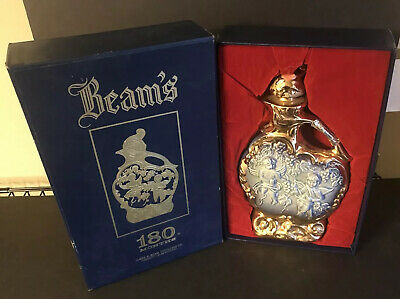 Vintage 1975 Jim Beam Blue and Gold Bourbon Whiskey Decanter 180 Months In Box