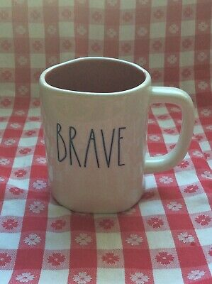 New Rae Dunn Mug LL By Magenta White BRAVE Rare And Hard To Find Blue Interior