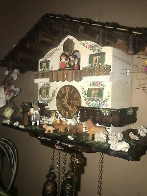 Beautiful German Black Forest Animated Beer Garden 8 Day Musical Cuckoo Clock