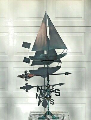 NEW SAILBOAT Weather Vane AGED COPPER FINISH Handcrafted! OCEAN/ LAKE/ BEACH