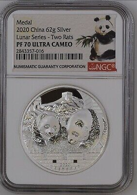 2020 China Lunar Mouse Rat Panda 2oz Silver Proof - NGC PF70 Mintage 200! Series