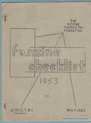 FANZINE CHECKLIST 1953 Leaflet #1 science fiction NFFF NF3 reference work 1950s
