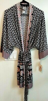 In Bloom by Jonquil kimono wrap women's silky black pink print New tags XL   A 3