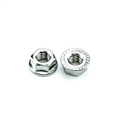 Stainless Steel Serrated Flange Nut M6-1.0 Metric Serrated Flange Nuts (25 pcs)