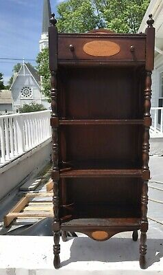 Vintage Wooden Three Tier Bookcase w/ Drawer c.1930's