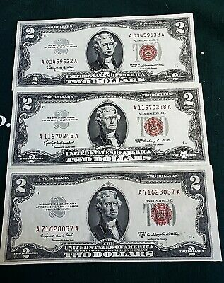 Three US $2 RED SEAL 1953 B & 1963 Uncirculated United States Two Dollar Notes.