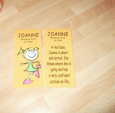 Brand New Magnetic Bookmark with the Name & Meaning of Joanne (1 Bookmark Only)