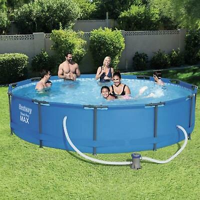 Bestway 12ft Steel Pro Frame Swimming Pool Paddling Family Outdoor Pump 56416