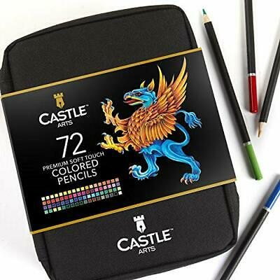 Castle Art Supplies 72 Coloured Pencils Zip-Up Set - Easy Zipper Case to Store